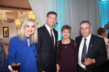 From left to right Sarit Finkelstein-Boim, Event Chair, Sam Grundwerg, Honorable Consul General of Israel, Tammi Warshel and Honoree Arieh Warshel, Nobel Laureate - Nobel Prize Winner for Chemistry 2013.