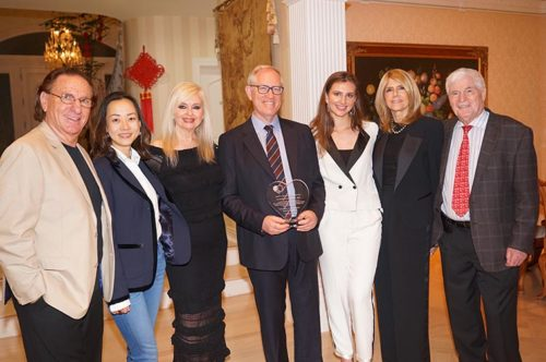 In the photo from left to right:  Jerry and Dina Agam the hosts, Sarit Finkelstein-Boim the Event Chair, Dr. Norman Lepor the Honoree his daughter Marissa and wife Helen, Dr. Yzhar Charuzi the Founder and President of SAHF